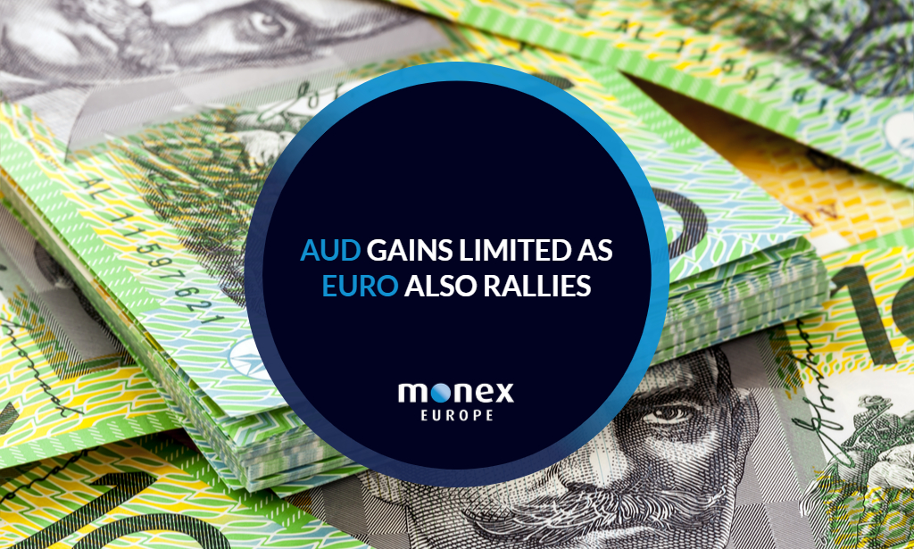AUD gains limited as euro also rallies
