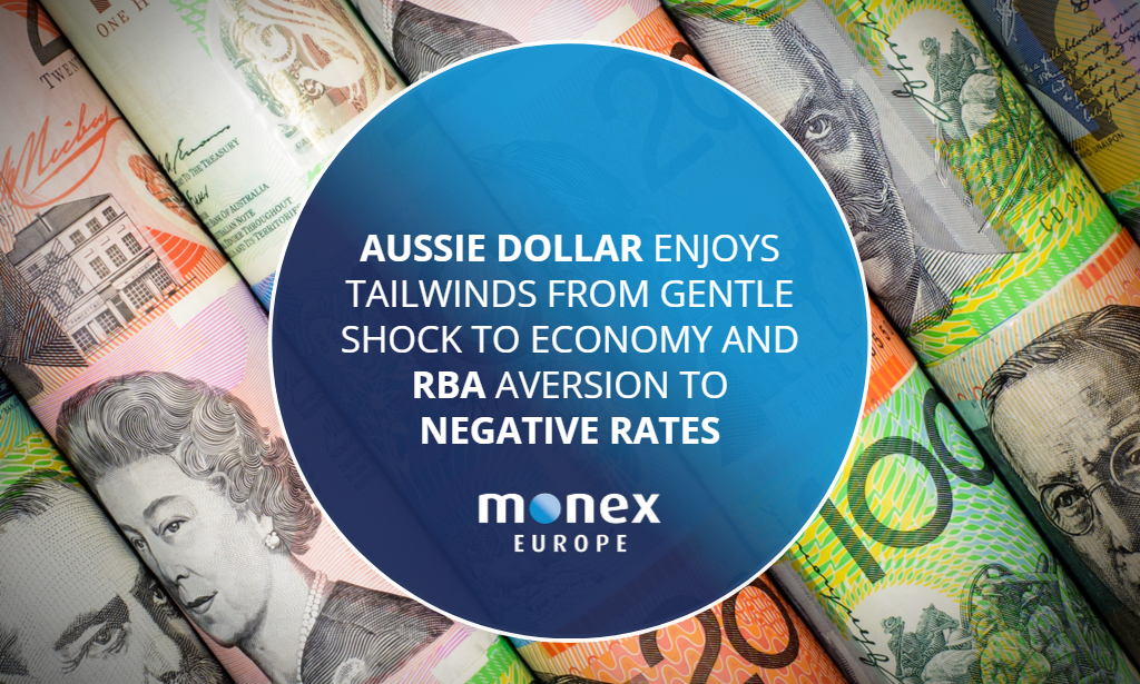Aussie dollar enjoys tailwinds from gentle shock to economy and RBA aversion to negative rates