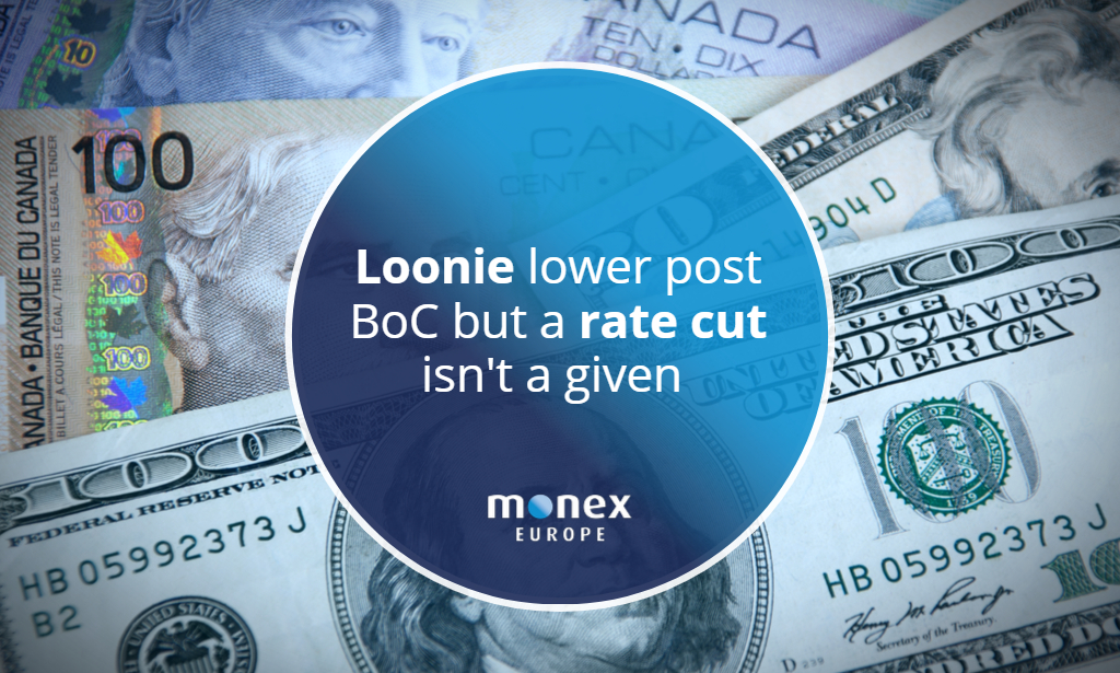 Loonie lower post BoC but a rate cut isn't a given