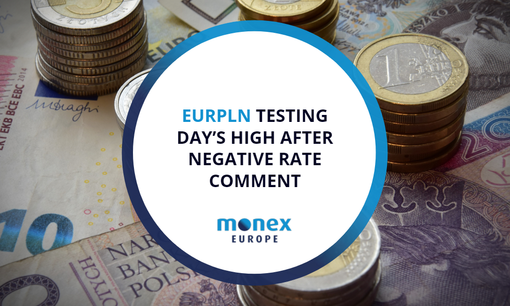 EURPLN testing day's high after negative rate comment