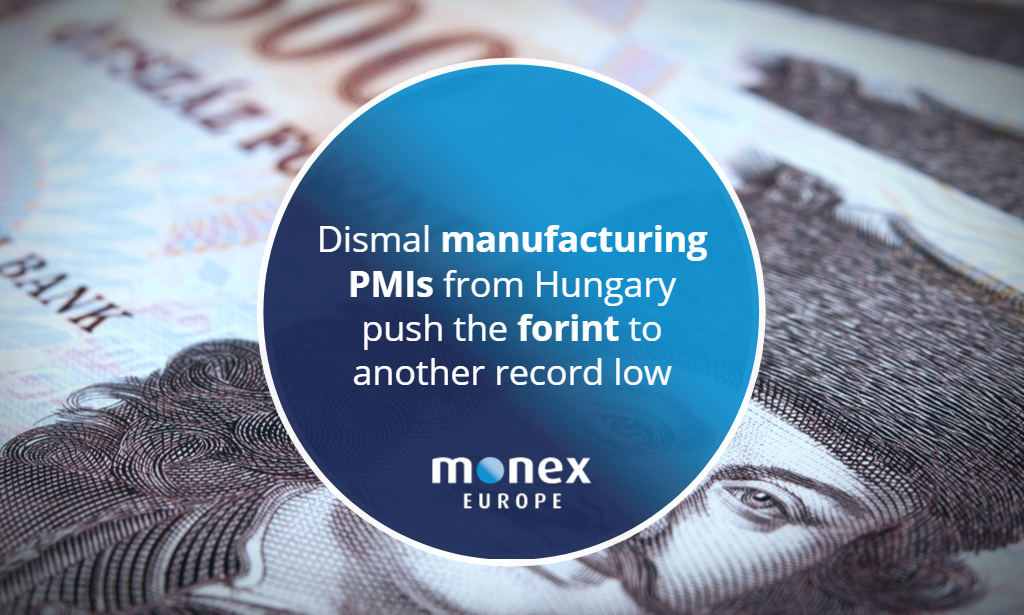 Dismal manufacturing PMIs from Hungary push the forint to another record low