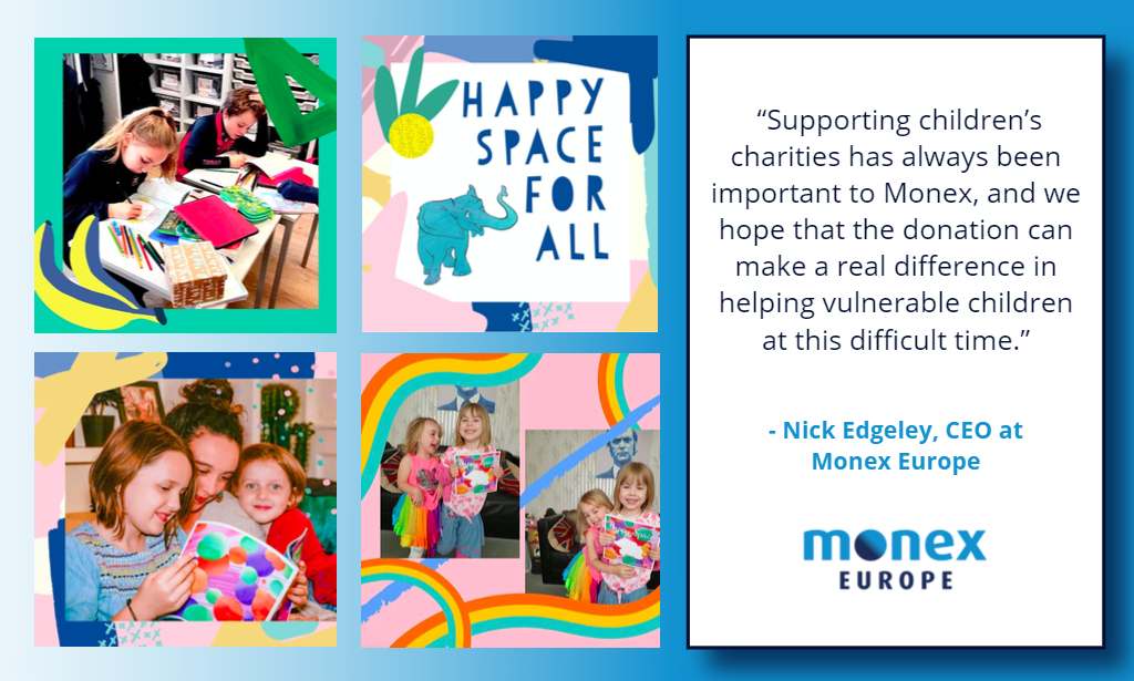 """Monex Europe supports children's mental health charity """"Happy Space"""" in a mission to raise £20,000"""