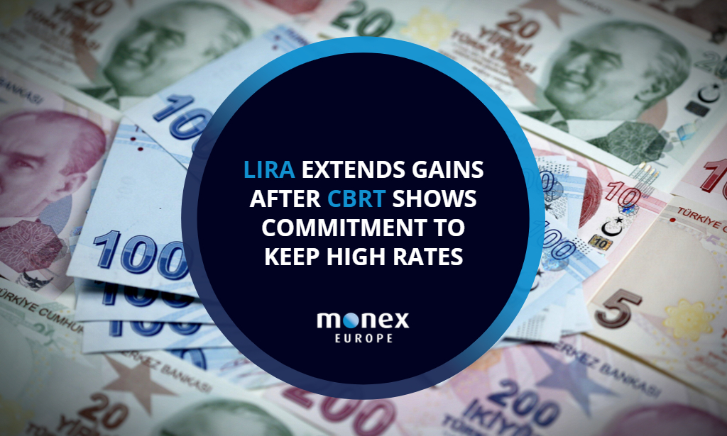 Lira extends gains after CBRT shows commitment to keep high rates