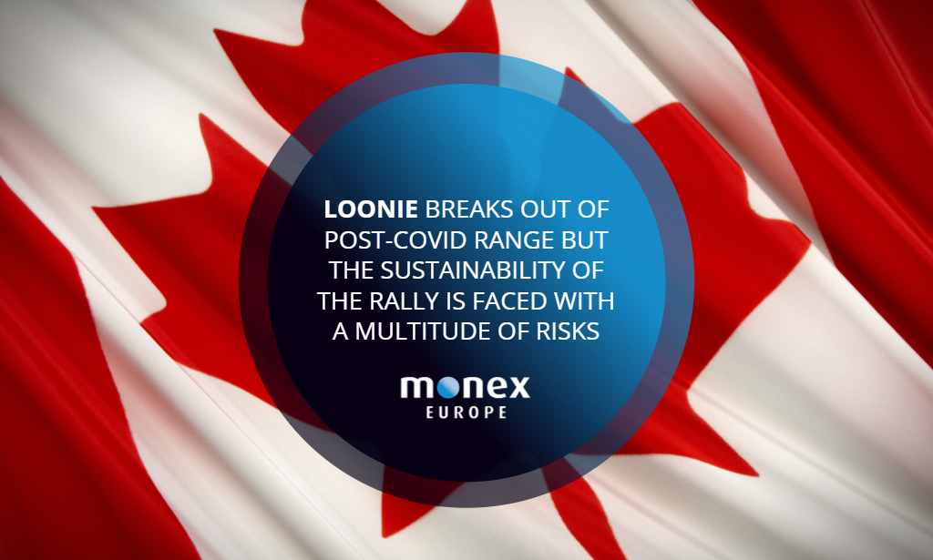 Loonie breaks out of post-Covid range but the sustainability of the rally is faced with a multitude of risks