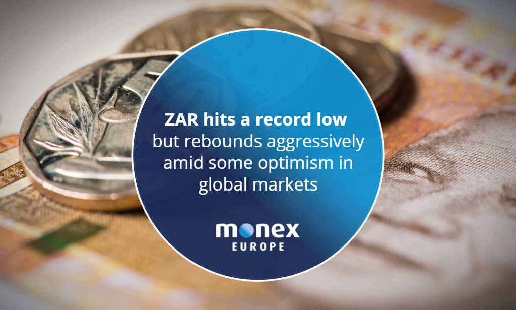 ZAR hits a record low but rebounds aggressively amid some optimism in global markets