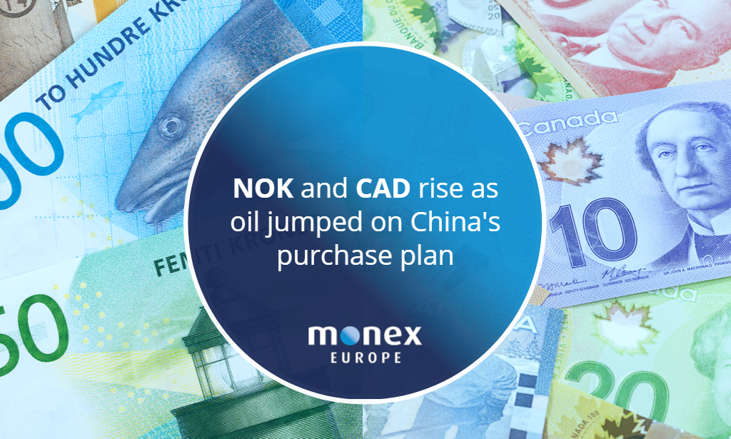 NOK and CAD rise as oil jumped on China's purchase plan