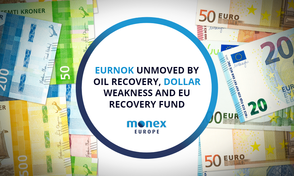 EURNOK unmoved by oil recovery, dollar weakness and EU recovery fund