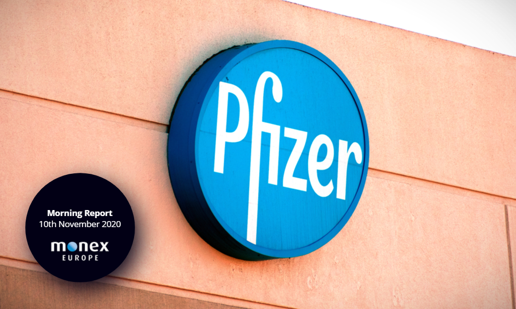 Risk appetite enjoys Pfizer boost but the dollar bounced back in late trading