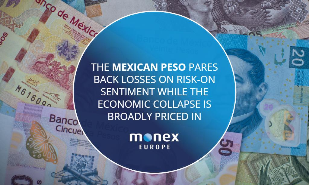 The Mexican peso pares back losses on risk-on sentiment while the economic collapse is broadly priced in