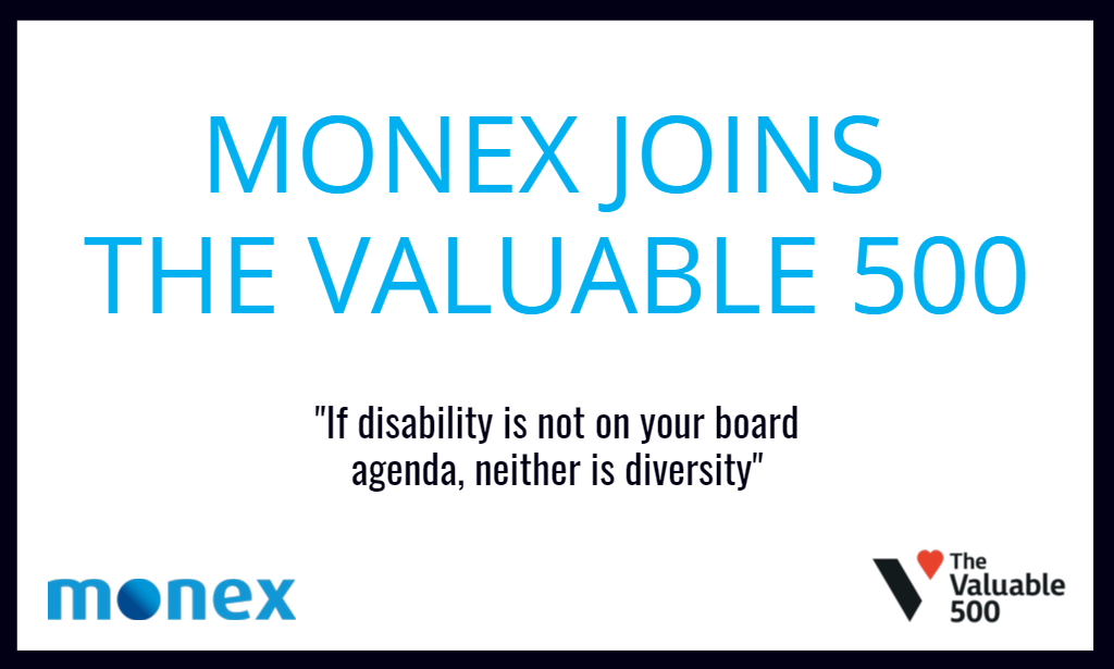 Monex joins The Valuable 500 campaign to put disability inclusion on the business agenda
