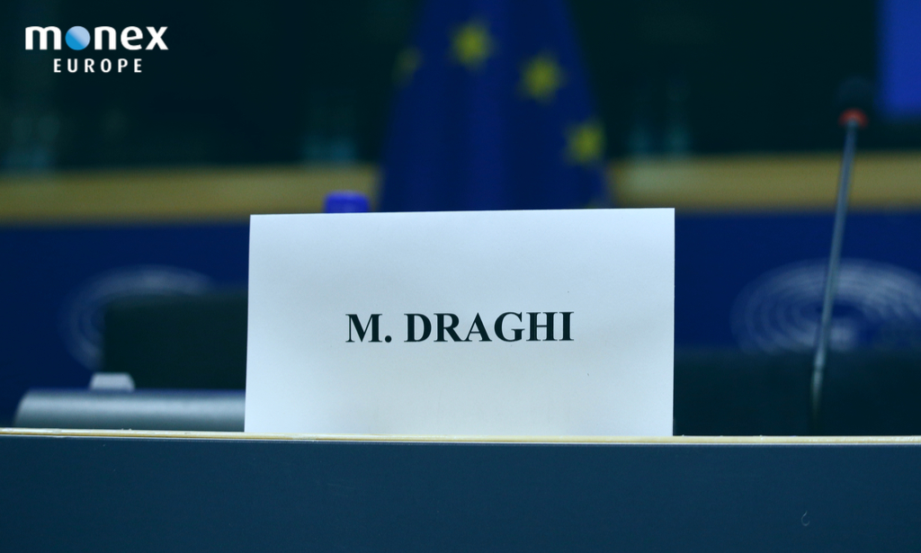 Muscle flexing and toolkit display prepares Mr. Draghi for his final day