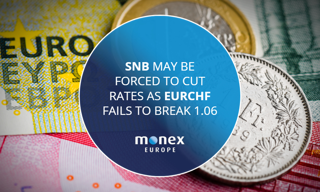 SNB may be forced to cut rates as EURCHF fails to break 1.06 as sight deposits rise