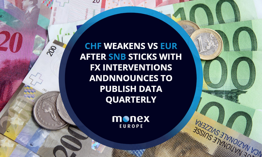 Swiss franc weakens vs euro after SNB sticks with FX interventions and announces to publish data quarterly
