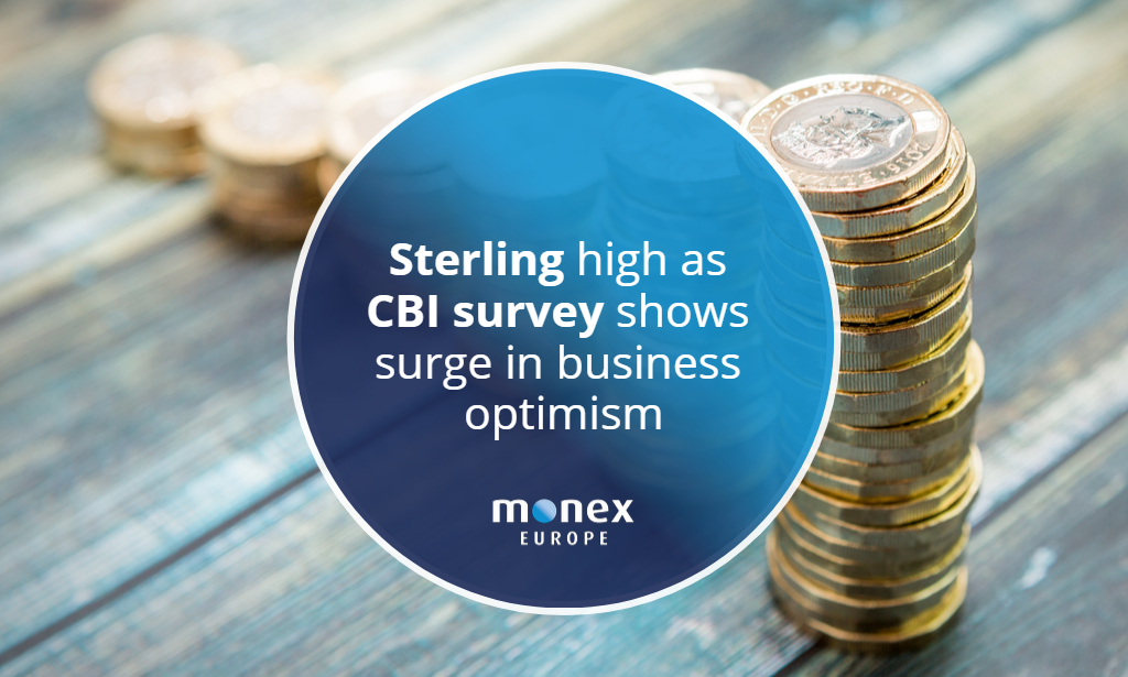 Sterling high as CBI survey shows surge in business optimism