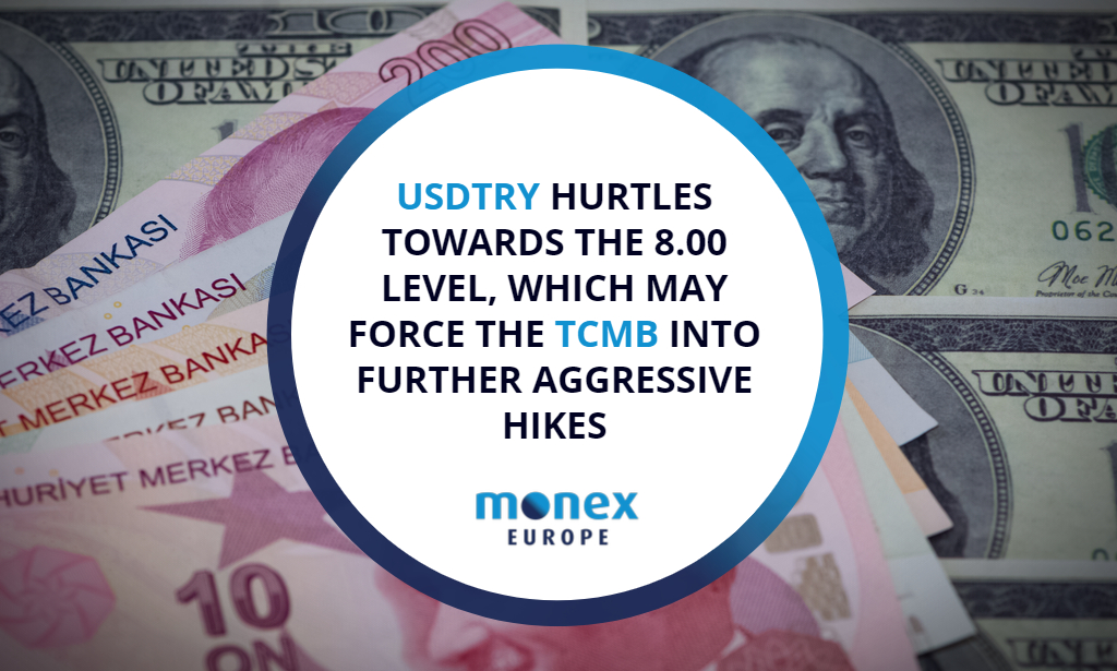 USDTRY hurtles towards the 8.00 level, which may force the TCMB into further aggressive hikes
