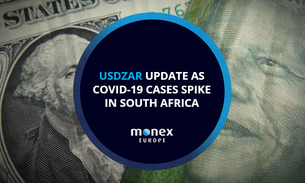 USDZAR update as Covid-19 cases spike in South Africa